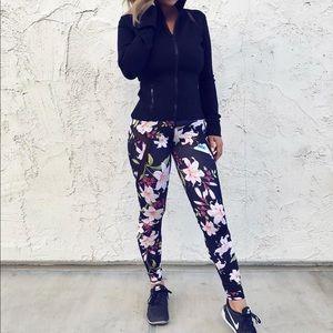 Pants - Pink floral lotus leggings